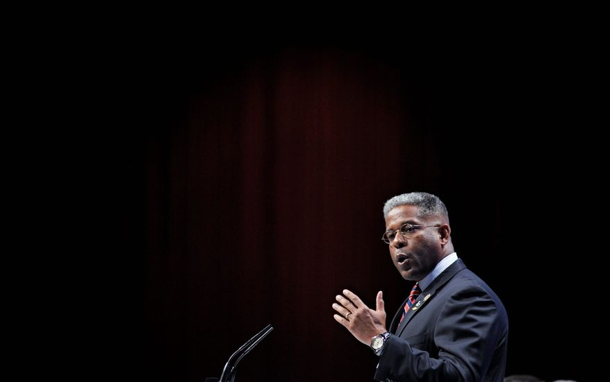 """Rep. Allen B. West, speaking at the Conservative Political Action Conference in Washington last month, has been in Congress only since January, but there already is talk of a Senate run in 2012 or possibly a spot on the presidential ticket. But first, he says, """"I've got to prove myself as a capable legislator, political leader."""" (Associated Press)"""
