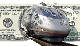 Illustration: High-speed rail by Alexander Hunter for The Washington Times