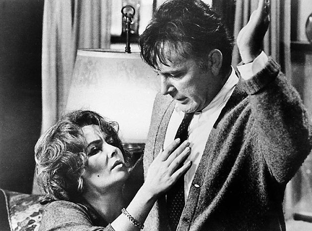 "This 1966 file photo shows Elizabeth Taylor in the role of Martha, and Richard Burton in the role of George in a scene from the 1966 movie ""Who's Afraid of Virginia Woolf?"" Publicist Sally Morrison says Taylor died Wednesday, March 23, 2011 in Los Angeles of congestive heart failure at age 79. (AP Photo/File)"