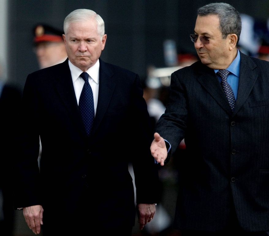 "U.S. Defense Secretary Robert M. Gates (left), shown with Israel Defense Minister Ehud Barak in Tel Aviv on Thursday, said the rocket attacks against Israel were ""repugnant."" (Associated Press)"