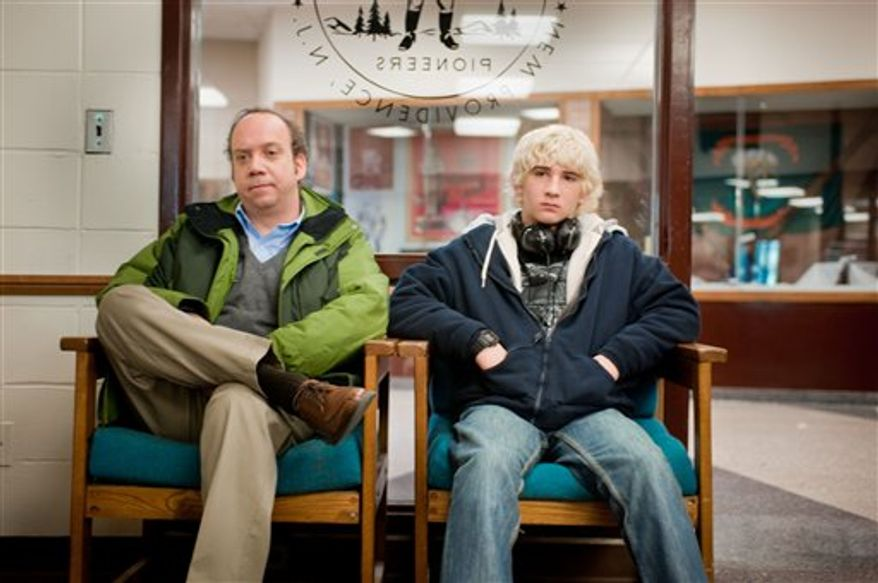 "In this film publicity image released by Fox Searchlight Films, Paul Giamatti, left, and Alex Shaffer are shown in a scene from, ""Win Win."" (AP Photo/Fox Searchlight, Kimberly Wright)"