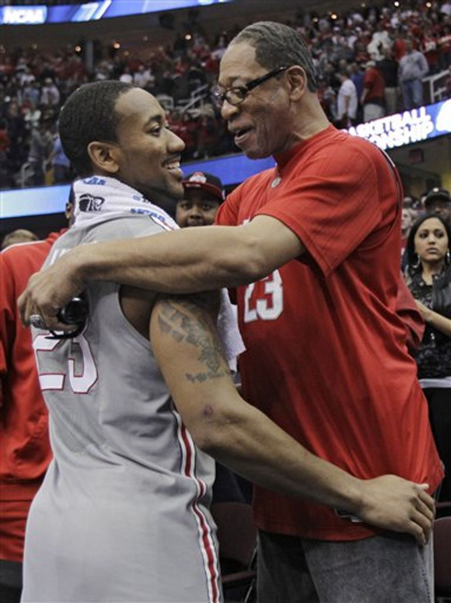 Ohio State's David Lighty gestures after making a 3-point shot against George Mason in an East regional NCAA college basketball tournament third-round game Sunday, March 20, 2011, in Cleveland. (AP Photo/Amy Sancetta)