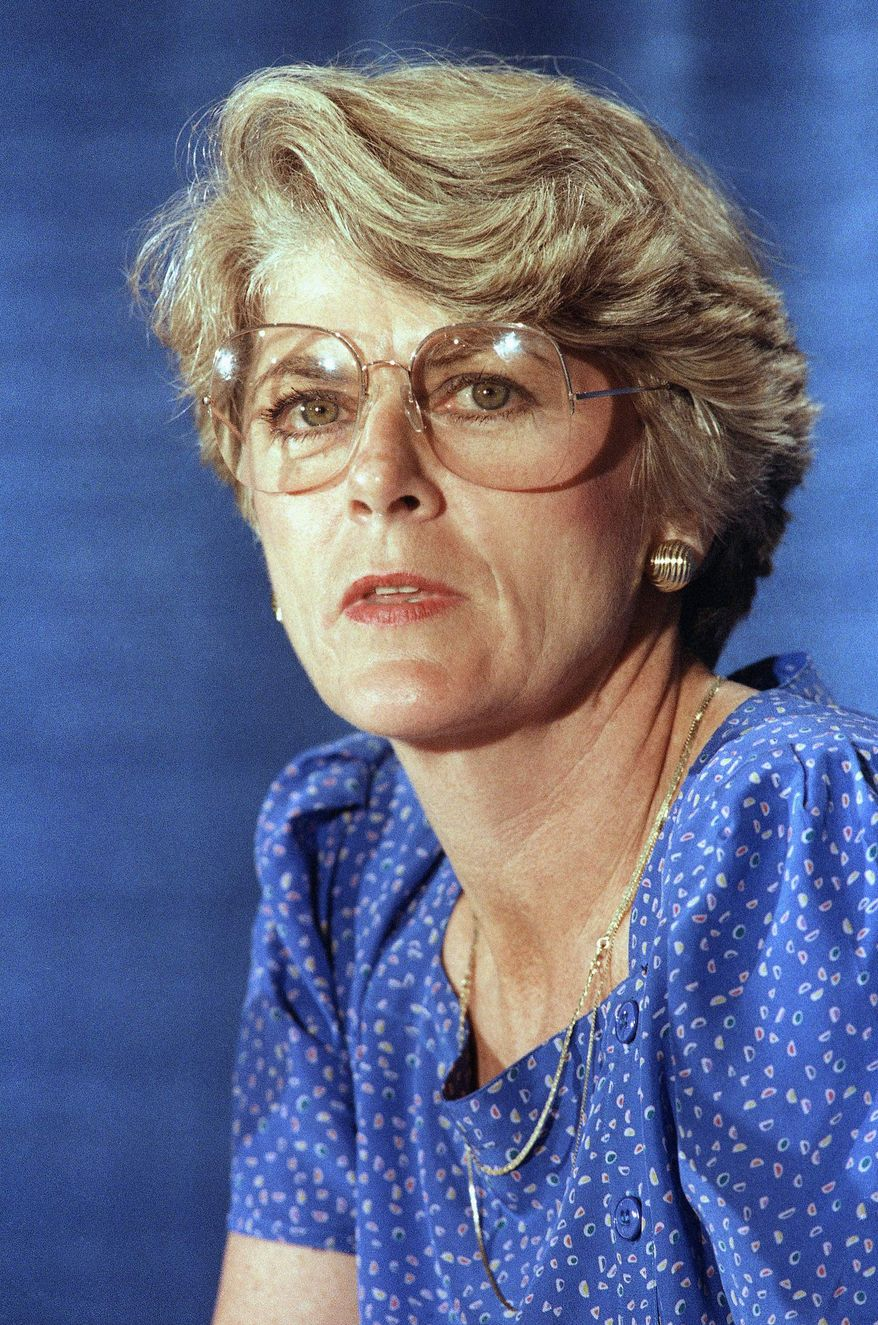 ** FILE ** This Tuesday, Aug. 21, 1984, file picture shows Geraldine Ferraro at a news conference in New York. A spokesperson said Saturday, March 26, 2011, that Ferraro, the first woman to run for vice president, has died at 75. (AP Photo/Suzanne Vlamis, File)
