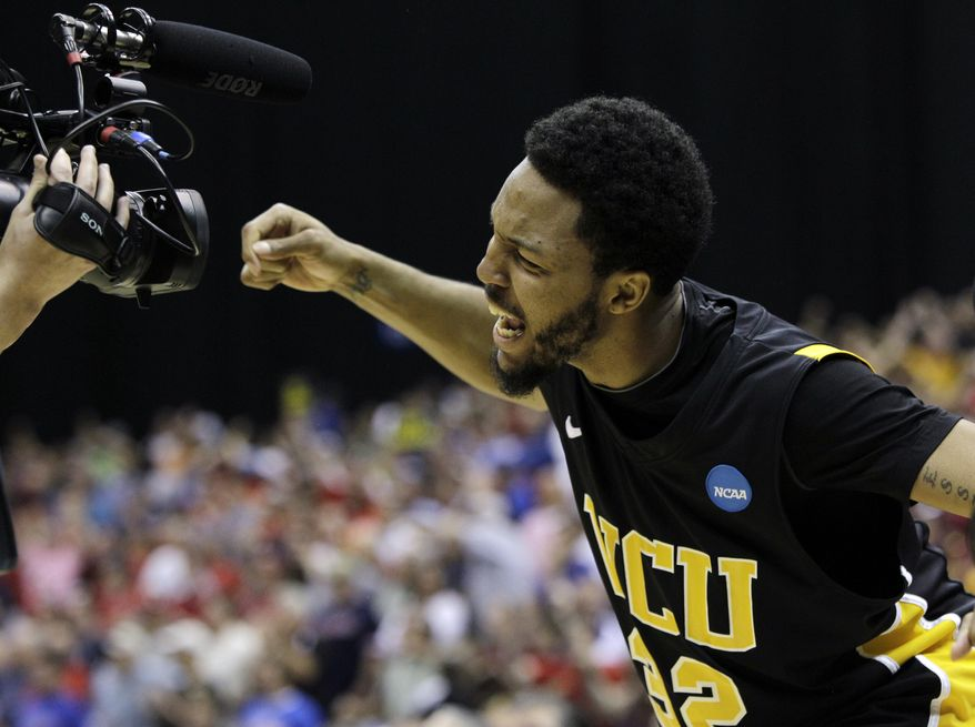 Virginia Commonwealth's Brandon Rozzell reacts after beating Florida State 72-71 in overtime at a Southwest regional semifinal game in the NCAA college basketball tournament Saturday, March 26, 2011, in San Antonio. (AP Photo/Tony Gutierrez)