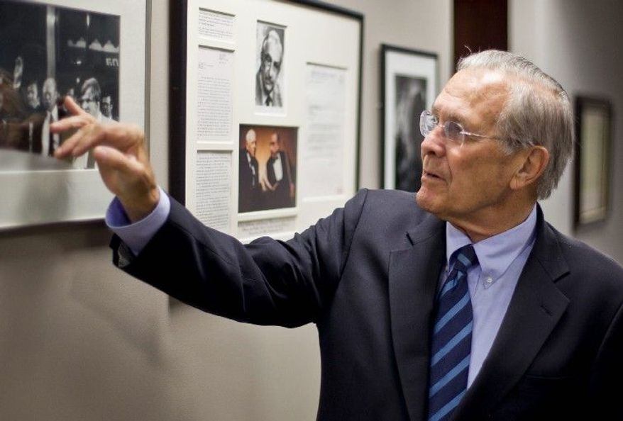 "ANDREW S. GERACI/THE WASHINGTON TIMES Former Defense Secretary Donald H. Rumsfeld, shown in his workroom, recently completed his memoir, ""Known and Unknown."""