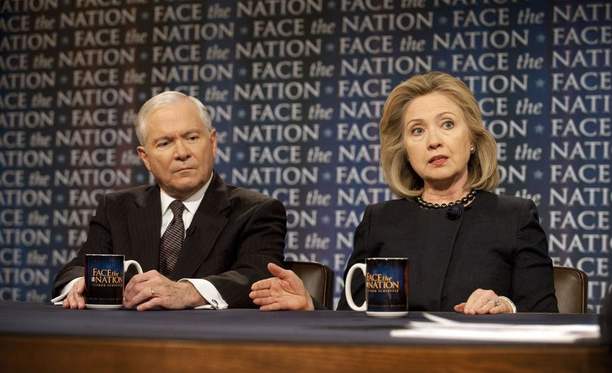 """Secretary of Defense Robert M. Gates and Secretary of State Hillary Rodham Clinton discuss the latest developments in the Middle East during a pre-taped interview that aired on Sunday, March 27, 2011, on CBS' """"Face the Nation."""" Mr. Gates said he doesn't think that Libya is """"a vital interest"""" for the United States but that the North African nation is part of a region that is of vital American interest. (AP Photo/CBS, Chris Usher)"""
