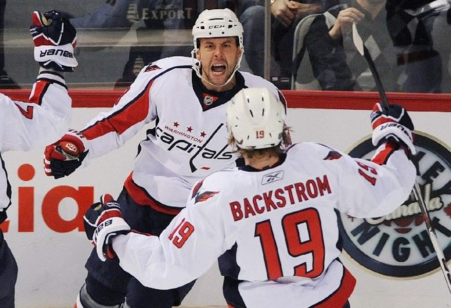ASSOCIATED PRESS The Capitals' Marco Sturm, celebrating with teammate Nicklas Backstom after scoring against the Montreal Canadiens on Saturday, has been the perfect role-playing winger for a first-place team in need of depth.