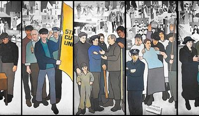 "JAMES IMBROGNO VIA ASSOCIATED PRESS This mural by Judy Taylor was removed over the weekend from the Maine Labor Department's lobby and put into storage. An anonymous fax sent to the governor's office said it was propaganda in line with ""communist North Korea where they use these murals to brainwash the masses."""
