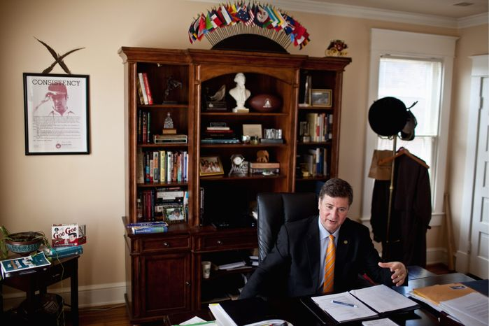 """We have a government that seems to be against us. Nobody's cheering for anything coming out of Washington,"" said George Allen, who is seeking to return to the U.S. Senate. But a rival for the GOP nomination is criticizing Mr. Allen for backing budgets that raised the federal debt by $3.2 trillion during his Senate term. (Drew Angerer/The Washington Times)"