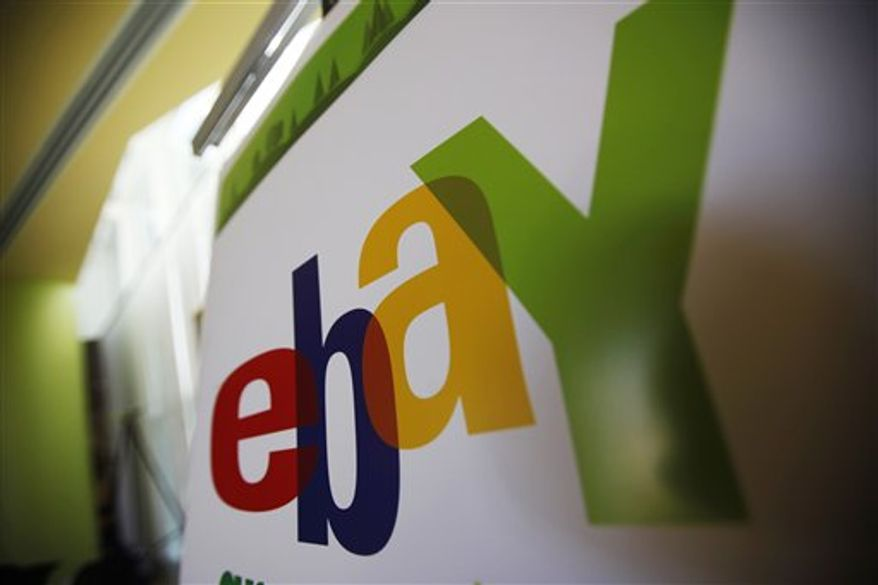 FILE - In this Feb. 24, 2010 file photo, an eBay logo is seen at their offices in San Jose, Calif. EBay Inc. has agreed to buy GSI Commerce Monday, March 28, 2011, a digital marketing and e-commerce company, for $2.4 billion.(AP Photo/Paul Sakuma, File)