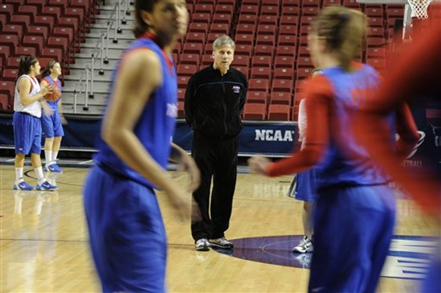 DePaul's head coach Doug Bruno watches his players during practice for an NCAA women's college basketball tournament regional semifinal, Saturday, March 26, 2011, in Philadelphia. DePaul plays Duke on Sunday. (AP Photo/Barbara Johnston)