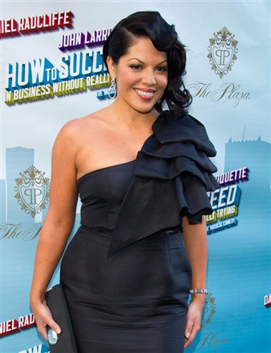 """FILE - In this March 27, 2011 file photo, actress Sara Ramirez arrives for the opening night performance of the Broadway musical """"How to Succeed in Business Without Really Trying"""" in New York. (AP Photo/Charles Sykes, file)"""