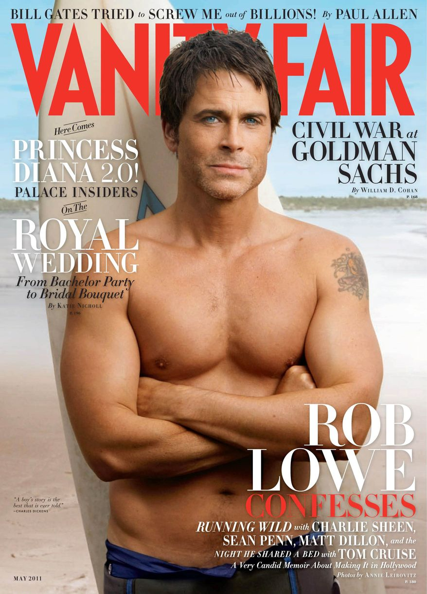 Annie Leibovitz photographed actor Rob Lowe for the May issue of Vanity Fair. (Associated Press)
