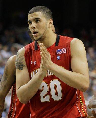 Maryland's Jordan Williams (20) waits to shoot free throws in a game against Duke at the Atlantic Coast Conference tournament in Greensboro, N.C., earlier this month. (Associated Press)