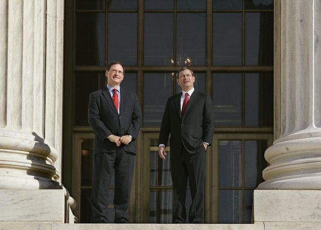 Supreme Court Justice Samuel Anthony Alito Jr. (left) and Chief Justice John G. Roberts Jr. stand together often when it comes to U.S. Supreme Court rulings. The appointees of President George W. Bush are both young and conservative. (Associated Press)