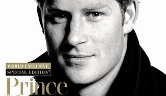 In this handout photo released by Conde Nast on Monday, March 28, 2011, Britain's Prince Harry on the cover of GQ magazine. The special edition front page shows the 26-year-old wearing kit for the Walking With The Wounded charity, of which he is patron. The Prince will trek to the North Pole with three wounded soldiers as part of his role as patron. (AP Photo/Conde Nast) EDITORIAL USE ONLY THIS IMAGE SHOULD BE USED IN ITS ENTIRETY