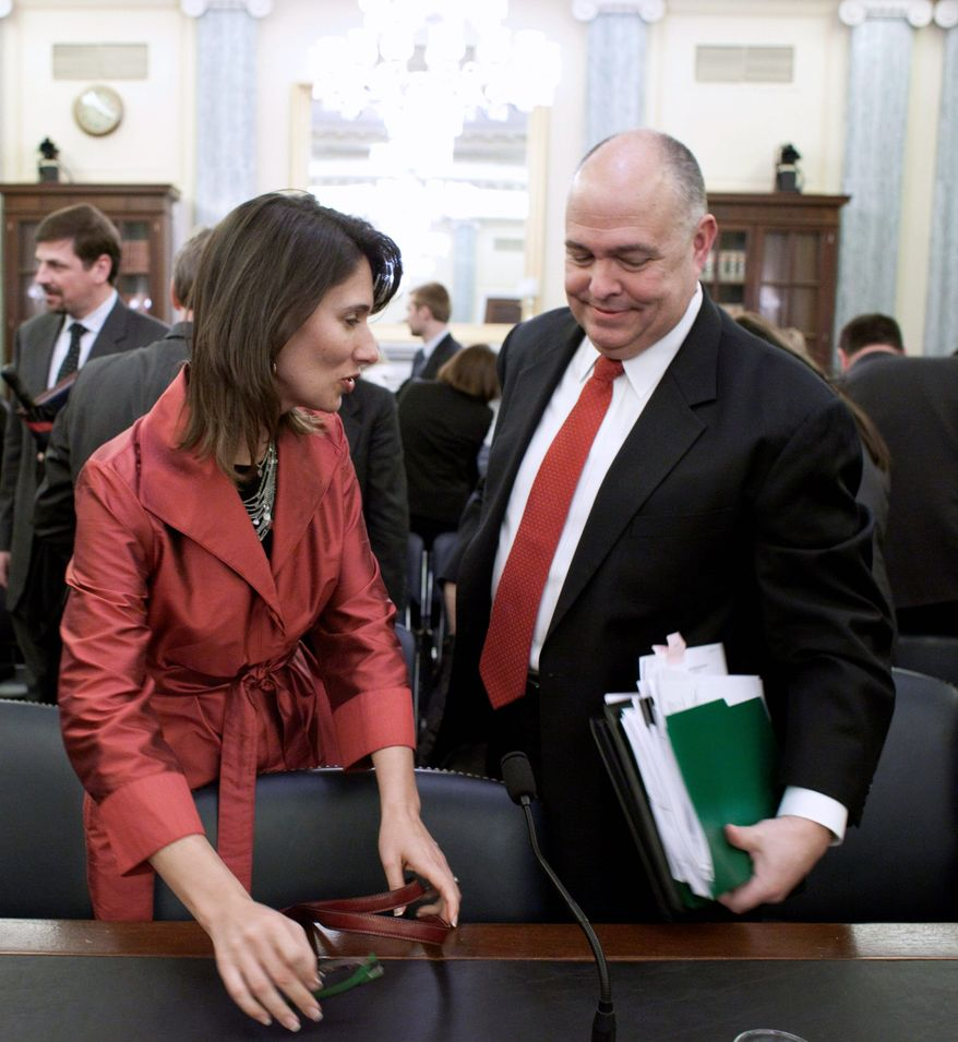 National Transportation Safety Board Chairman Deborah Hersman and Peter Pantuso, president of the American Bus Association, testified Wednesday at a Senate transportation subcommittee hearing on improving the safety of passengers on the country's large buses, or motorcoaches. Crashes in the past decade have taken dozens of lives. (Associated Press)