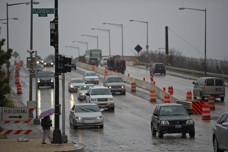 """""""New York Avenue will look like New York"""" once lane closures start on one of the District's major access routes for a bridge project, according to John B. Townsend II, a spokesman for AAA Mid-Atlantic. The work is expected to start April 25 and take two years to complete. (Barbara L. Salisbury/The Washington Times)"""