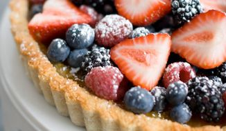 The Passover tart sports a coconut crust that is both chewy and crispy. (Associated Press)