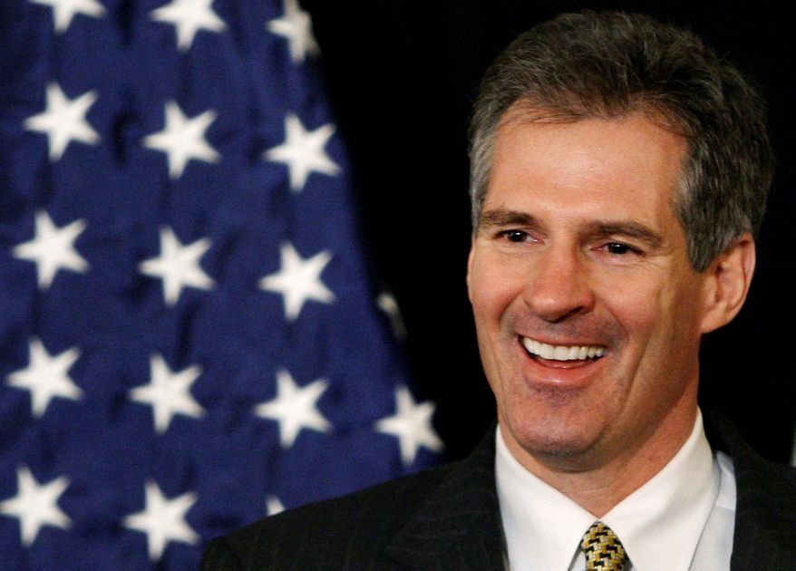 Scott Brown won the U.S. Senate seat held for nearly 50 years by the late Sen. Edward M. Kennedy and the Democrats would dearly love to win it back in 2012 but no one has stepped forward as a candidate. Mr. Brown has cast himself as a moderate, seeking to appeal to independents and conservative Democrats. (Associated Press)