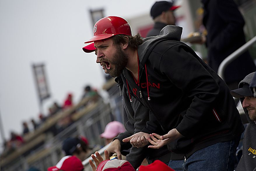 Pete Vogel of Falls Church, Va., gets upset about one of the Nationals' plays on opening day, Thursday, March 31, 2011 at Nationals Park in Washington, D.C. (Barbara L. Salisbury/The Washington Times)