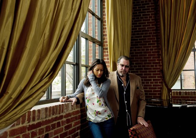 """Director Julian Schnabel, with Rula Jebreal, says the controversy over """"Miral"""" has been """"spectacular for the movie."""" (Rod Lamkey Jr./The Washington Times)"""