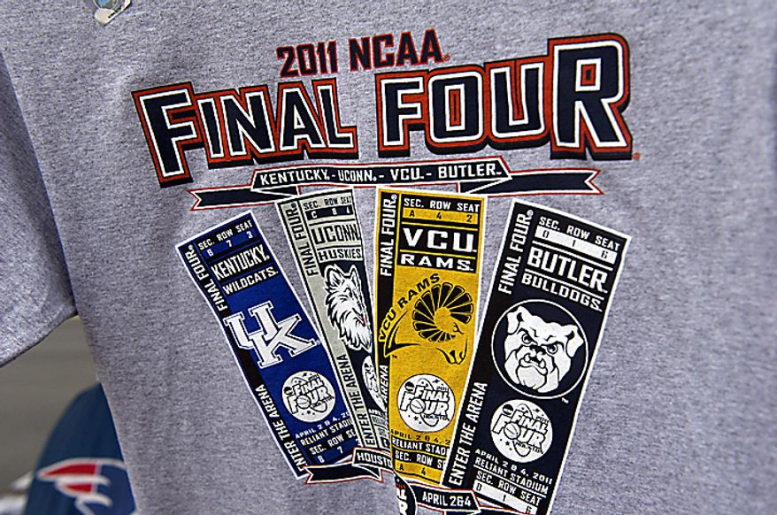 Souvenir T-shirts celebrate the Virginia Commonwealth University men's basketball team's appearance in the NCAA Final Four on the VCU campus in Richmond on Wednesday, March 30, 2011. (Rod Lamkey Jr./The Washington Times)
