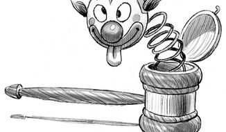 Illustration: Judge Not by Alexander Hunter for The Washington Times