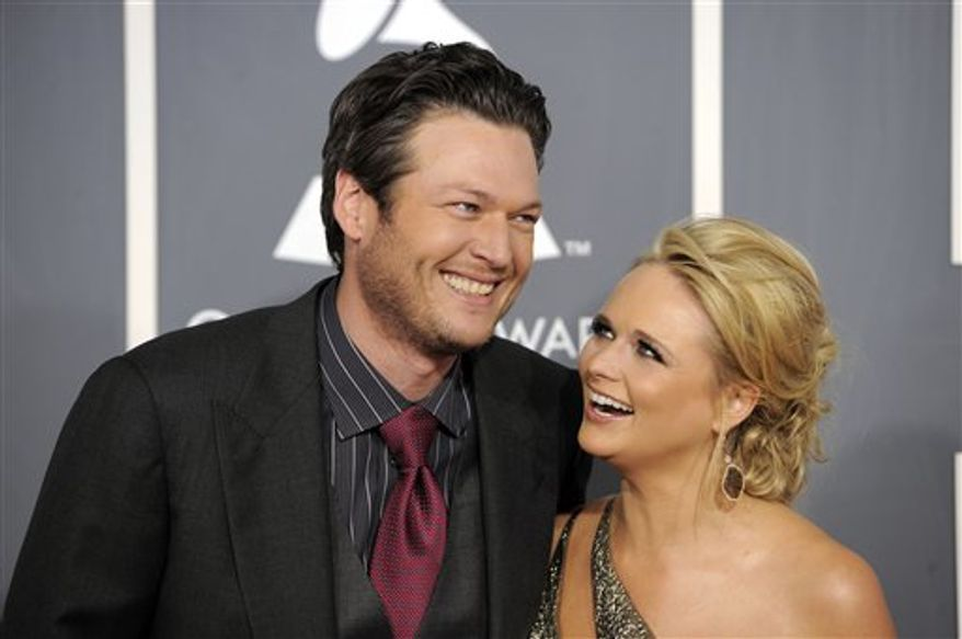 FILE - In this Feb. 13, 2011 file photo, Blake Shelton, left, and Miranda Lambert arrive at the 53rd annual Grammy Awards in Los Angeles. (AP Photo/Chris Pizzello, file)