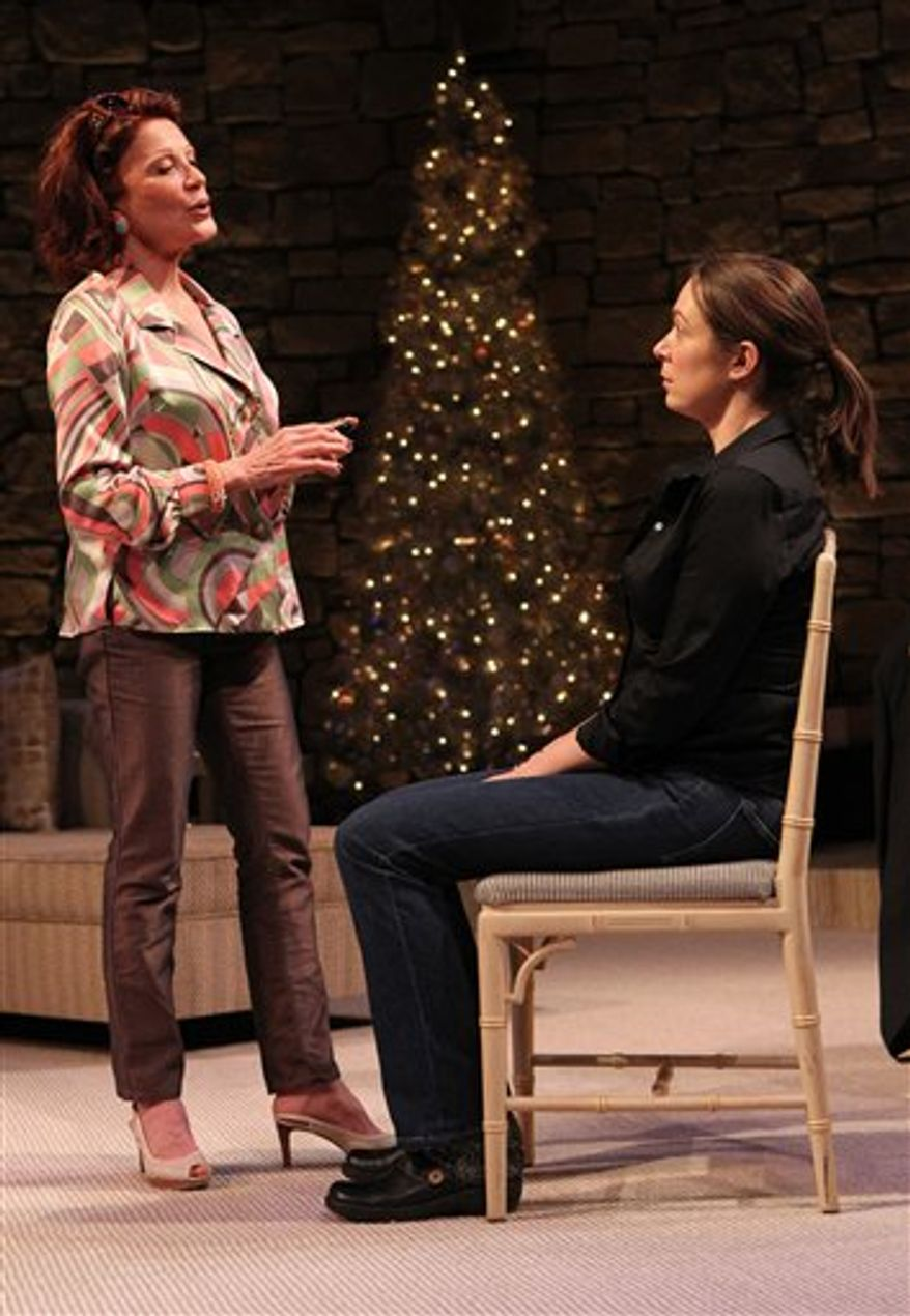 """In this undated theater publicity image released by Philip Rinaldi Publicity, Linda Lavin, left, and Elizabeth Marvel are shown in a scene from """"Other Desert Cities,"""" in New York.(AP Photo/Philip Rinaldi Publicity, Joan Marcus)"""