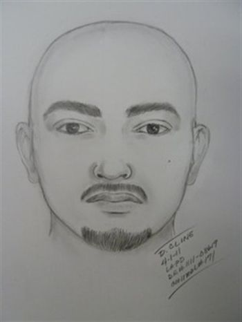 This artist sketch provided by the Los Angeles Police Department shows one of two suspects wanted in the attack on the Giants fan at Dodger Stadium that took place during the longtime rival team's game Friday April 1, 2011. The attack left the victim in critical but stable condition as authorities asked any possible witnesses Friday for help in identifying the assailants.  (AP Photo/Los Angeles Police Department)