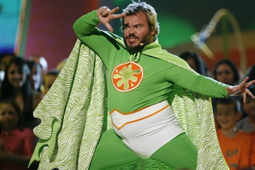 FIEL - In this March 29, 2008 file photo, Jack Black hosts the 21st Annual Kids' Choice Awards in Los Angeles.  Black will return as host of the popular awards show airing Saturday, April 2, 2011 at 8 p.m. EST on Nickelodeon. (AP Photo/Matt Sayles, file)