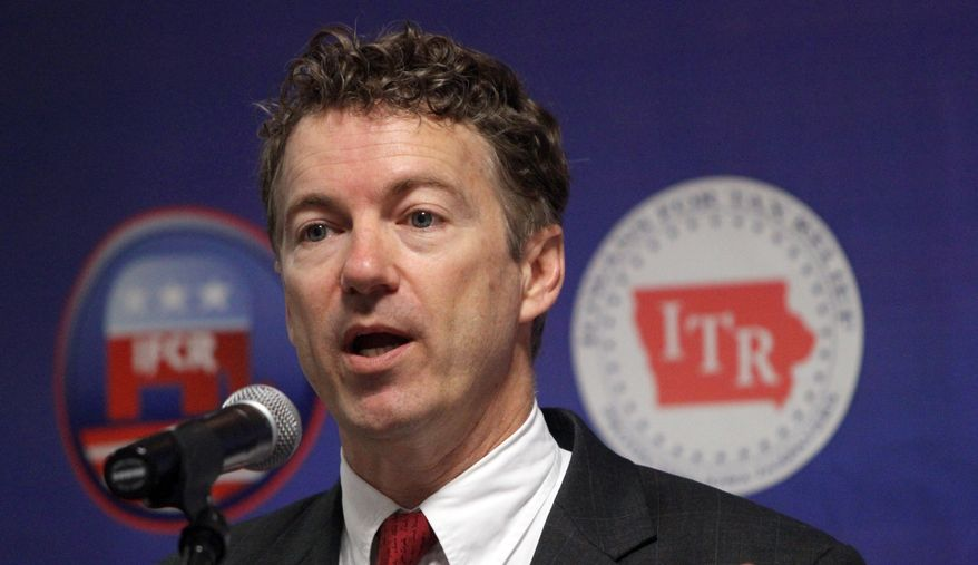 Sen. Rand Paul, Kentucky Republican, speaks at the annual convention of the Iowa Federation of College Republicans on Saturday, April 2, 2011, in Des Moines, Iowa. (AP Photo/Des Moines Register, Christopher Gannon)