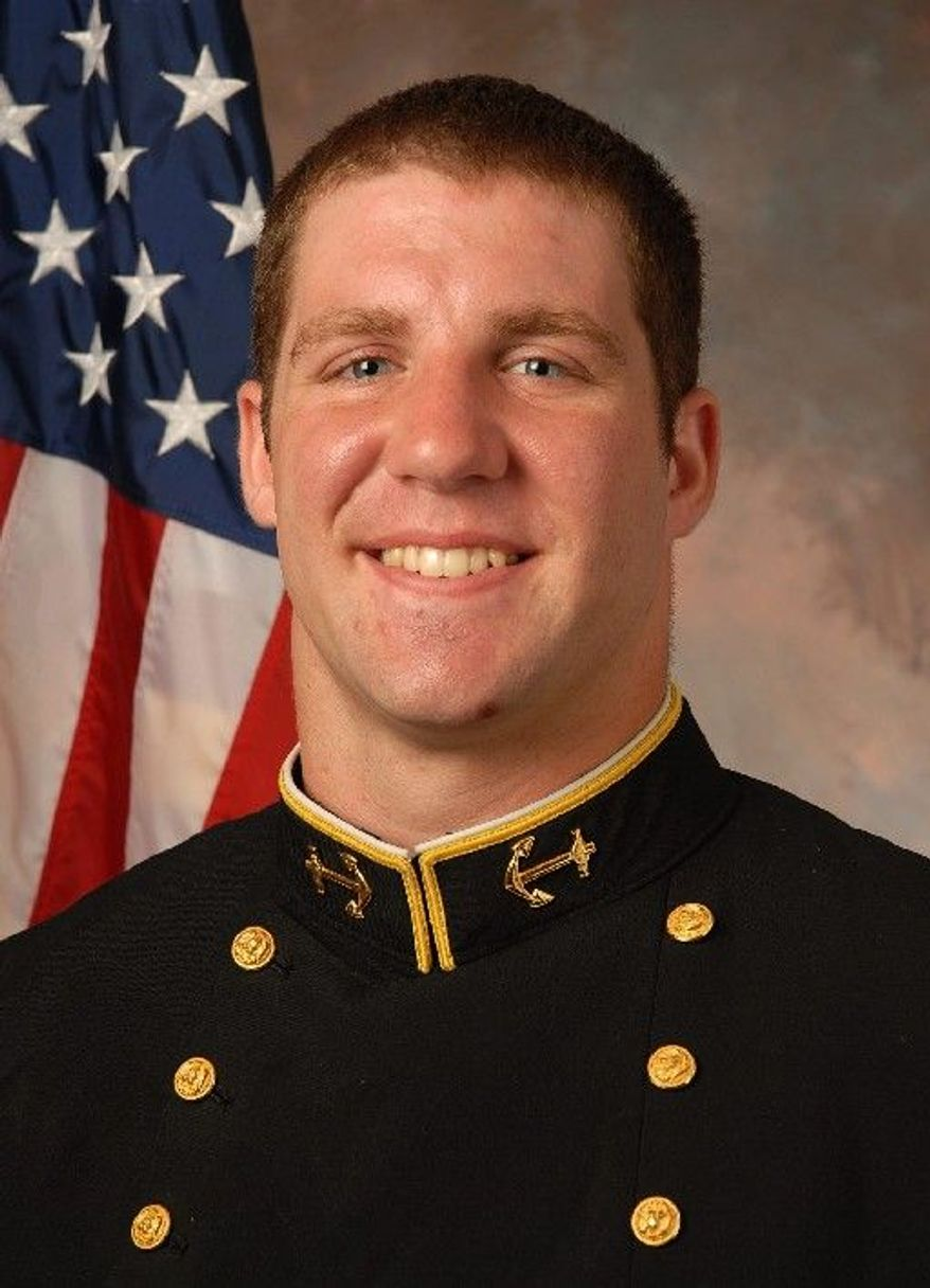 Navy senior left tackle David Sumrall, if all goes well, will be the only new starter on the Midshipmen's offensive line. (U.S. Navy)