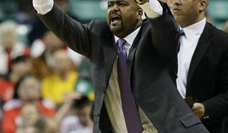 Miami head coach Frank Haith reacts in the second half of an NCAA college basketball game a in Greensboro, N.C., Thursday, March 10, 2011.  Haith has agreed in principle to take over as coach at Missouri, leaving the Miami basketball program after seven seasons, a person with knowledge of the negotiations told The Associated Press late Sunday night, April 3, 2011.  (AP Photo/Gerry Broome)