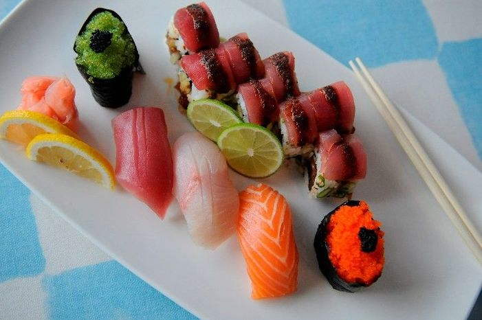 This sushi assortment includes salmon roe, spicy tuna roll, tuna, yellowtail and salmon. The Food and Drug Administration is assuring Americans that food imported from the Pacific Ocean is safe, though increased safety inspections have been put in place. (The Washington Times)