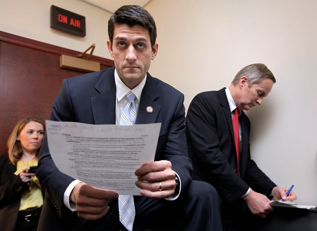 """""""We have a moral imperative ... to stand up and do what is necessary to fix this country,"""" House Budget Committee Chairman Paul Ryan, Wisconsin Republican, said of his budget proposal that reduces government spending by $5.8 trillion over the next 10 years. (Associated Press)"""