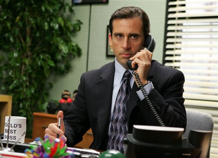 "FILE - In this undated publicity photo released by NBC, actor Steve Carell appears in this scene from the television series ""The Office.""   (AP Photo/NBC, Justin Lubin, file)"