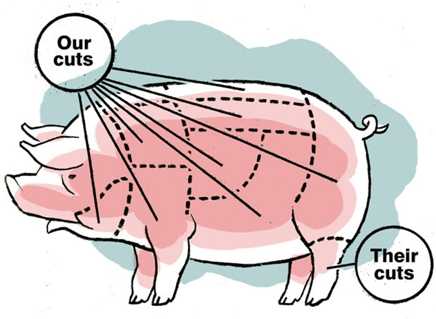Illustration: Choice cuts by Alexander Hunter for The Washington Times