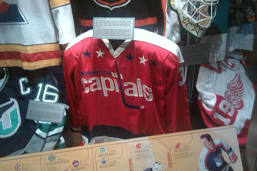 Roger Crozier's jersey on display at the Hockey Hall of Fame in Toronto, Ontario. (Stephen Whyno, The Washington Times)