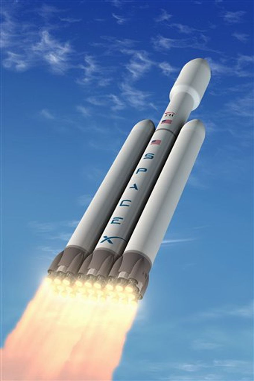 This undated artist rendering provided by Space Exploration Technologies (SpaceX), shows Space Exploration Technology's new rocket Falcon Heavy. On Tuesday, Elon Musk, CEO and chief rocket designer of  (SpaceX) unveiled plans to launch the world's most powerful rocket since man went to the moon.  (AP Photo/Space Exploration Technologies)