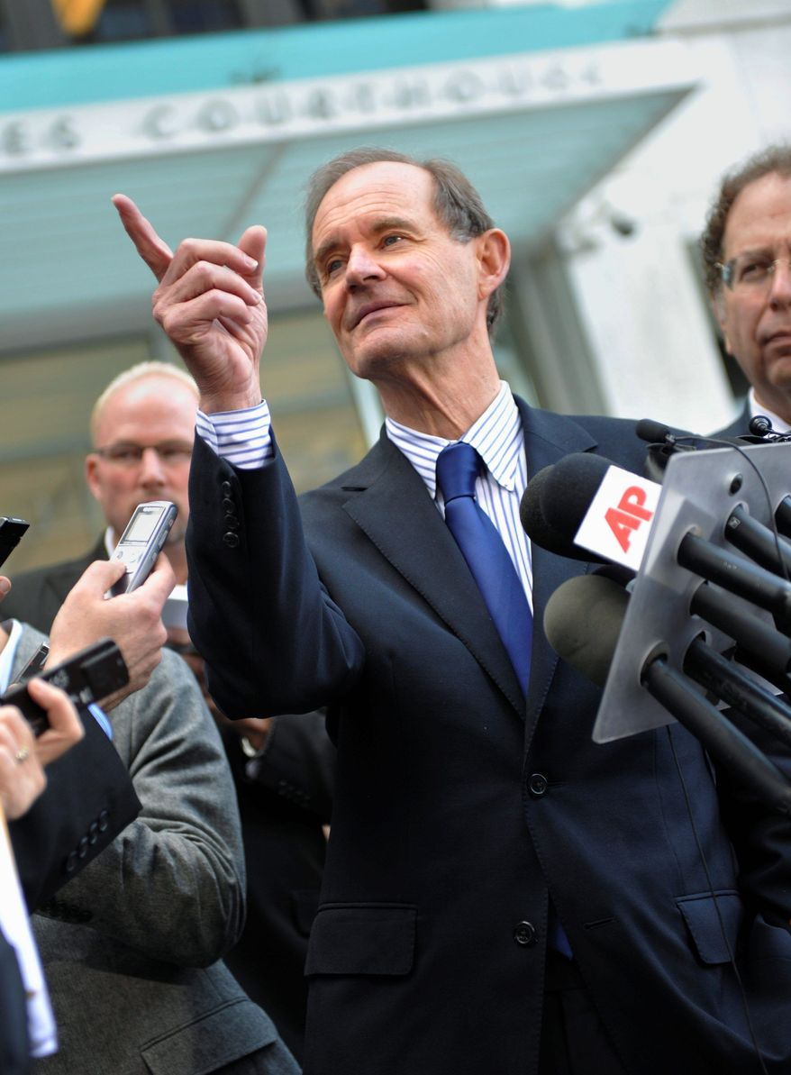 NFL attorney David Boies answers questions after the NFL lockout hearing Wednesday in St. Paul, Minn. The federal judge overseeing the case urged the NFL owners and players to resume bargaining. (Associated Press)