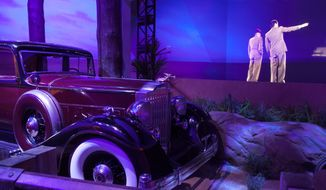 """A limousine once belonging to mobster Benjamin """"Bugsy"""" Siegel is on display at the """"Mob Experience"""" exhibit at the Tropicana Hotel and Casino in Las Vegas. (Associated Press)"""