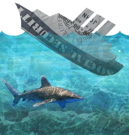 Illustration: Social Security sinks by Greg Groesch for The