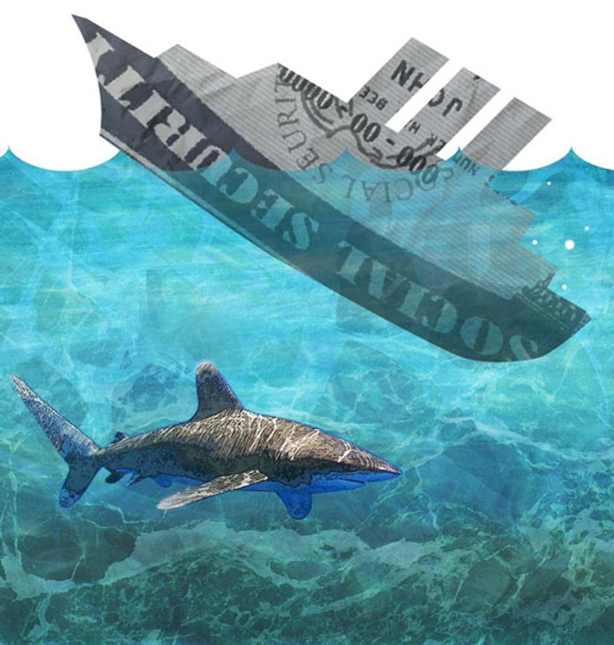 Illustration: Social Security sinks by Greg Groesch for The Washington Times