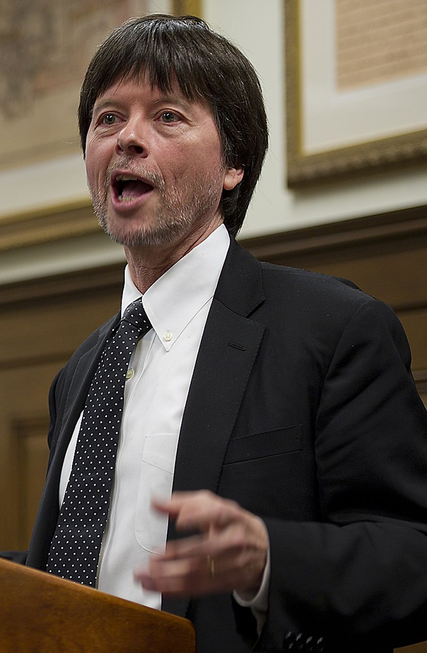 Documentary filmmaker Ken Burns told audience members at the National Archives in Washington on Wednesday, April 6, 2011, that he, too, found a family connection in the archives for the Civil War. It turns out his great-great-grandfather Abraham Burns was a member of the horse artillery. In celebration of the 150th anniversary of the start of the Civil War, the National Archives and Ancestry.com announced Wednesday that war archives now will be available online outside the archives. (Barbara L. Salisbury/The Washington Times)