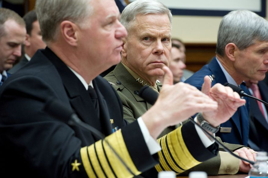 "POSITIVE FEEDBACK: Adm. Gary Roughead (left), chief of naval operations, and  Gen. James F. Amos, Marine Corps commandant, testify to the House Armed Services Committee about ending the ""don't ask, don't tell"" policy for homosexuals. (Rod Lamkey Jr./The Washington Times)"