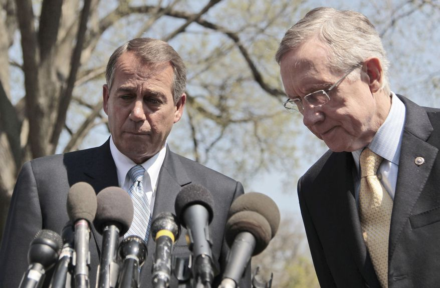 STANDSTILL: House Speaker John A. Boehner (left) and Senate Majority Leader Harry Reid, after meeting with President Obama on Thursday, tell reporters that all sides are trying to reach an agreement to prevent a budget shutdown, but none appeared to waver. (Associated Press)