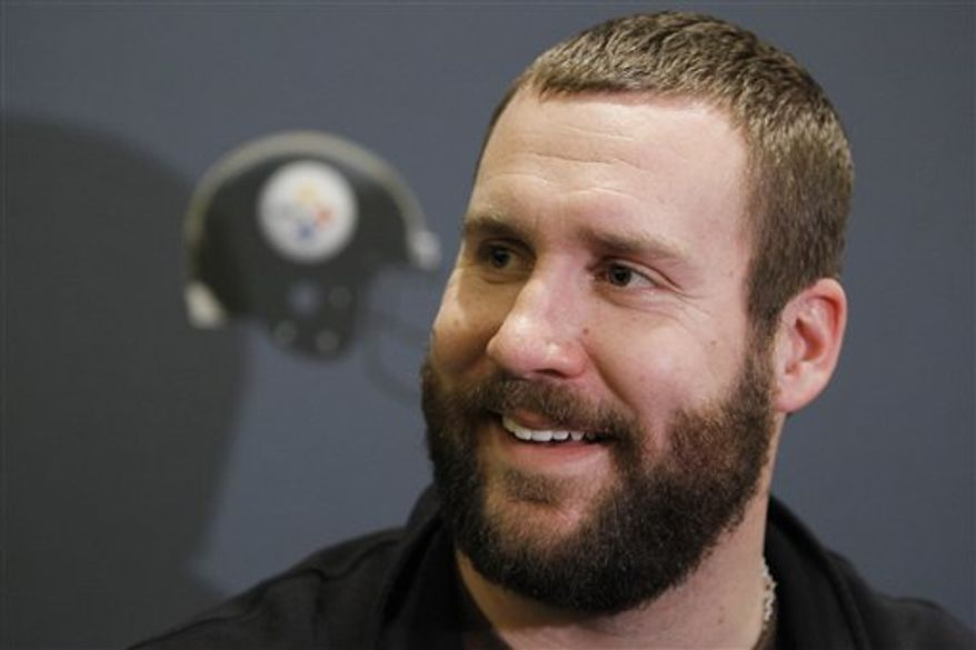 FILE - In this Jan. 31, 2011 file photo, Pittsburgh Steelers quarterback Ben Roethlisberger answers questions during a news conference in Fort Worth, Texas. Roethlisberger is speaking publicly for the first time about his engagement and upcoming wedding to a woman he met at training camp in 2005. The 29-year-old quarterback spoke to the Pittsburgh Post-Gazette about his July 23 wedding in a story in editions on Thursday, April 7, 2011. (AP Photo/Mark Humphrey, File)