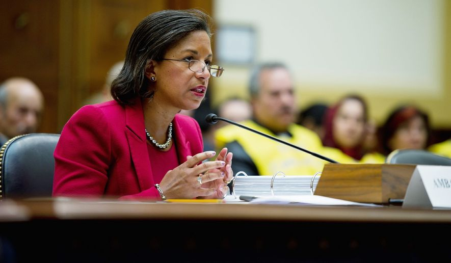 "U.S. Ambassador to the U.N. Susan Rice told the House Foreign Affairs Committee on Thursday that the ""Libya mission is not one that falls under U.N. accounting or U.S. budgeting. It is something we are undertaking in a national capacity."" (Rod Lamkey Jr./The Washington Times)"